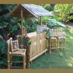 100% Green Outdoor Tiki Bar – Bamboo Tiki Bar With 3 Bar Stools
