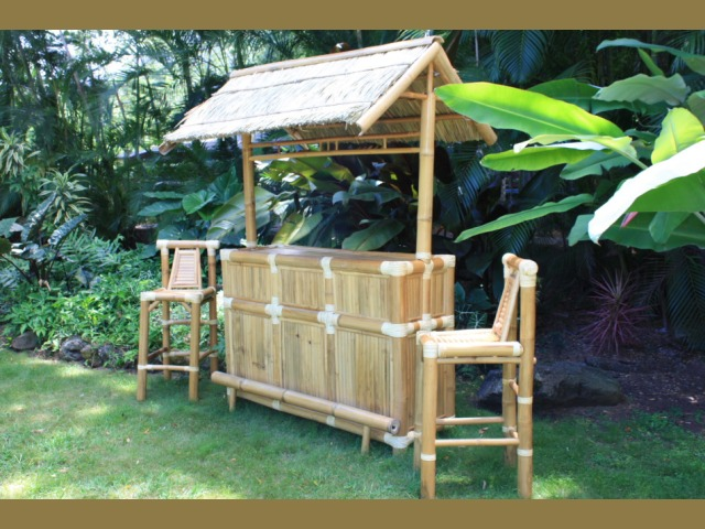 Island Tiki Bar Bamboo Outdoor Tiki Bar With 3 Stools