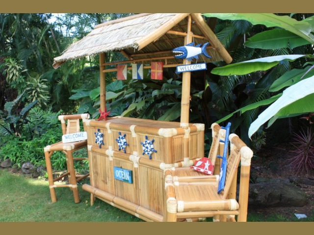 East coast outdoor tiki bar nautical bamboo tiki bar with 3 stools outdoor bar sets outdoor - Bamboo bar design ideas ...