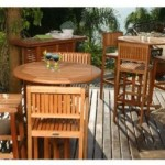 Ibiza Round Eucalyptus Outdoor Bar Set - Seats 3