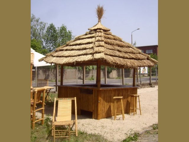 Island Tiki Bar Kiosk 360 Degree Outdoor Tiki Bar